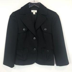 Ann Taylor LOFT button front black blazer